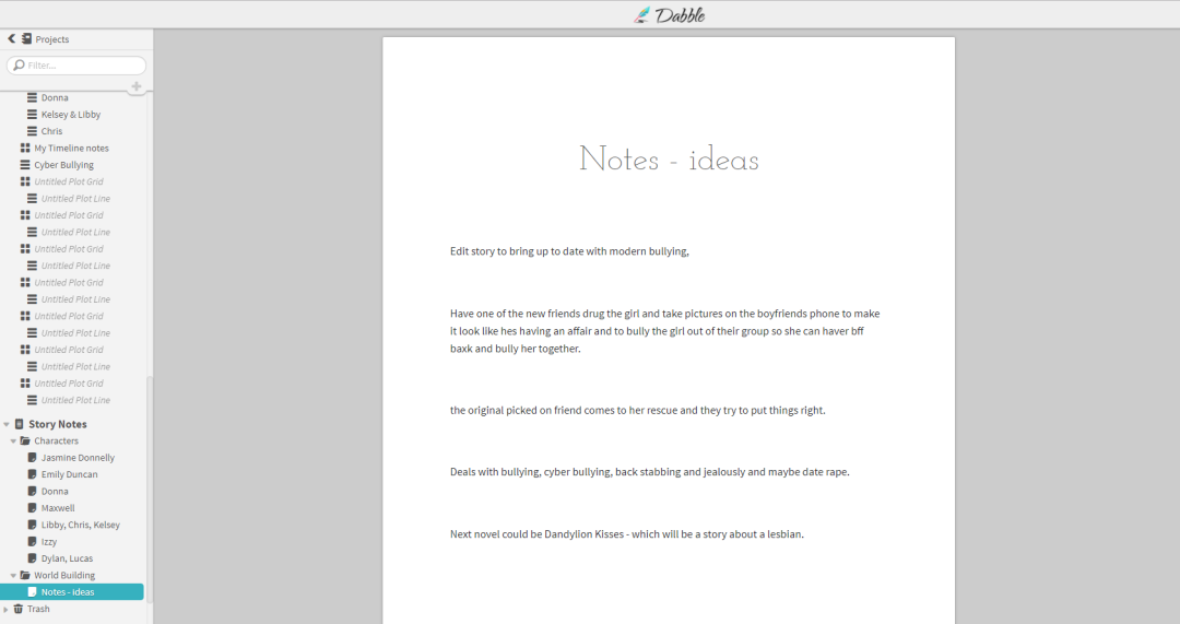 Dabble Writer - story notes