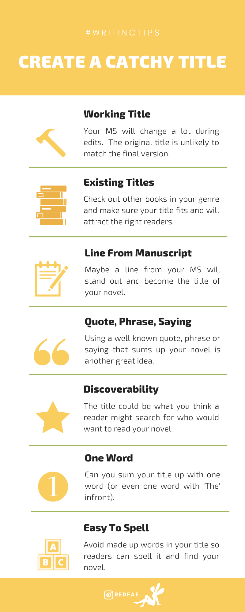 Catchy Novel Title Infographic